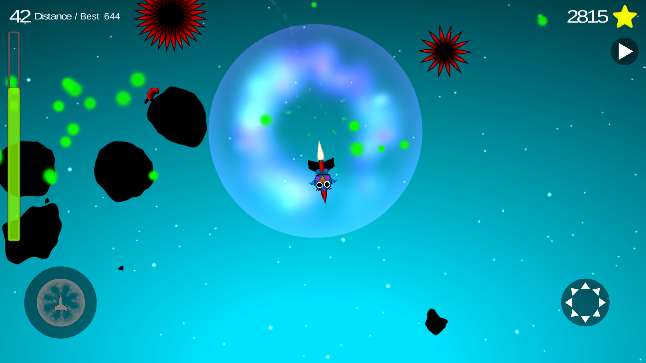 Flappy using burst in space to stop seeker enemies!