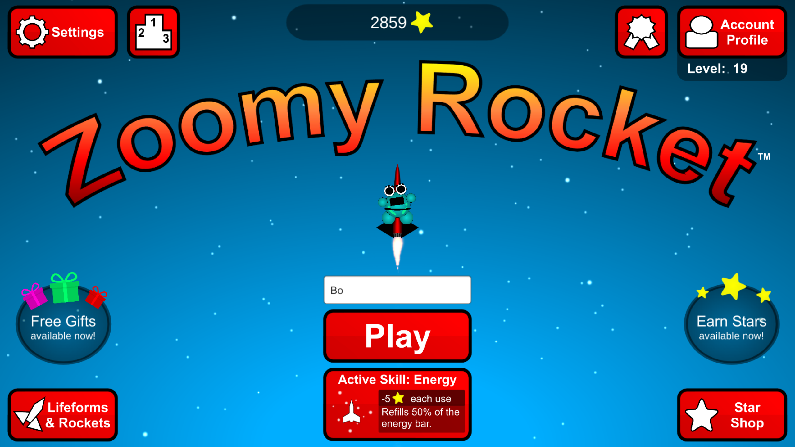 Zoomy Rocket title screen. Are you ready to play the game?